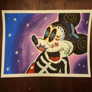 Sugar skull mouse painting